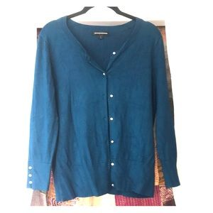 Soft express teal cardigan w faux diamond buttons